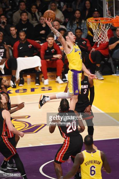 Lonzo Ball of the Los Angeles Lakers goes up for a dunk against the Miami Heat on December 10 2018 at STAPLES Center in Los Angeles California NOTE...