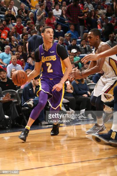 Lonzo Ball of the Los Angeles Lakers handles the ball against the New Orleans Pelicans on March 22 2018 at Smoothie King Center in New Orleans...