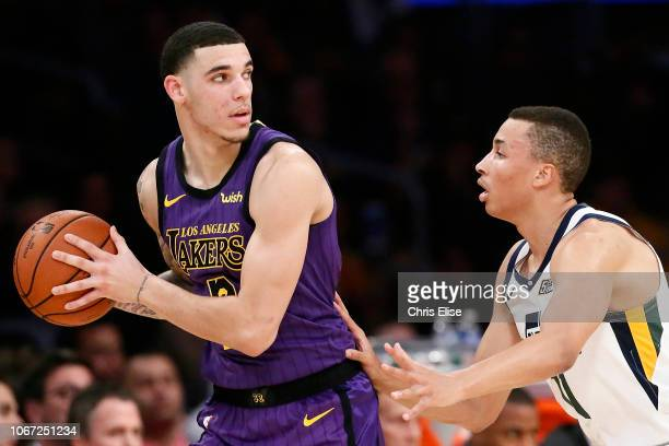 Lonzo Ball of the Los Angeles Lakers handles the ball against the Utah Jazz on November 23 2018 at the STAPLES Center in Los Angeles California NOTE...