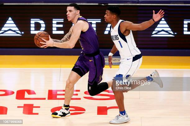 Lonzo Ball of the Los Angeles Lakers handles the ball against the Dallas Mavericks on November 30 2018 at the Staples Center in Los Angeles...