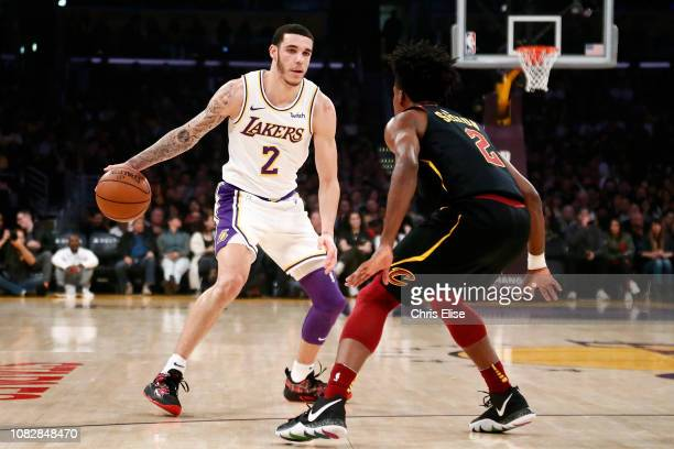 Lonzo Ball of the Los Angeles Lakers handles the ball against the Cleveland Cavaliers on January 13 2019 at STAPLES Center in Los Angeles California...