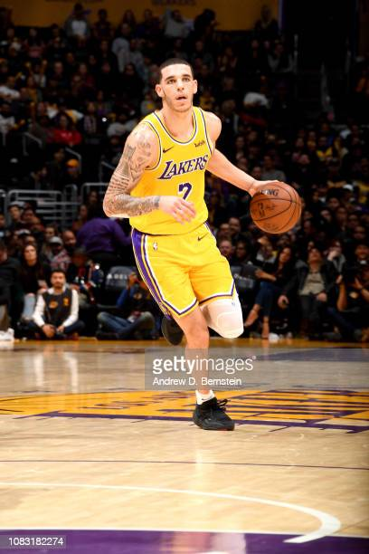 Lonzo Ball of the Los Angeles Lakers handles the ball against the Chicago Bulls on January 15 2019 at STAPLES Center in Los Angeles California NOTE...