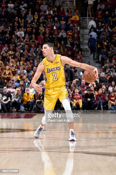 Lonzo Ball of the Los Angeles Lakers handles the ball against the Cleveland Cavaliers on December 14 2017 at Quicken Loans Arena in Cleveland Ohio...