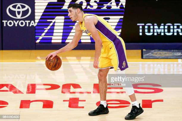 Lonzo Ball of the Los Angeles Lakers handles the ball against the Chicago Bulls on November 21 2017 at the STAPLES Center in Los Angeles California...