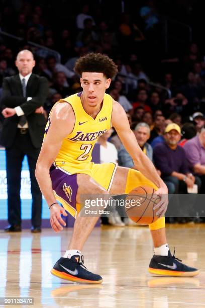 Lonzo Ball of the Los Angeles Lakers handles the ball against the Denver Nuggets on October 2 2017 at the Staples Center in Los Angeles California...
