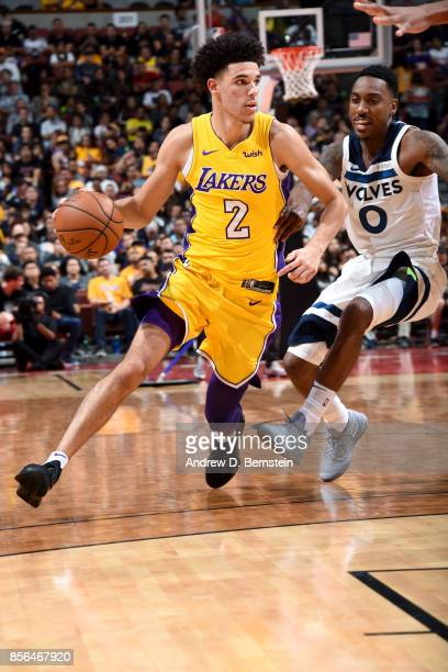 Lonzo Ball of the Los Angeles Lakers handles the ball during the game against the Minnesota Timberwolves during the preseason game on September 30...