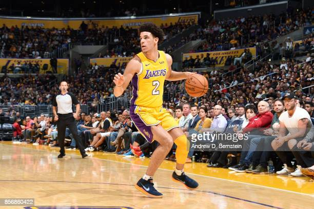 Lonzo Ball of the Los Angeles Lakers handles the ball during the game against the Denver Nuggets during a preseason game on October 2 2017 at STAPLES...