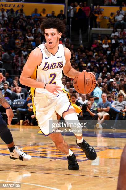 Lonzo Ball of the Los Angeles Lakers handles the ball during the game against the New Orleans Pelicans on October 22 2017 at STAPLES Center in Los...