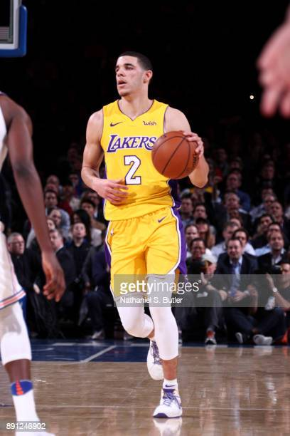 Lonzo Ball of the Los Angeles Lakers handles the ball during the game against the New York Knicks on December 12 2017 at Madison Square Garden in New...