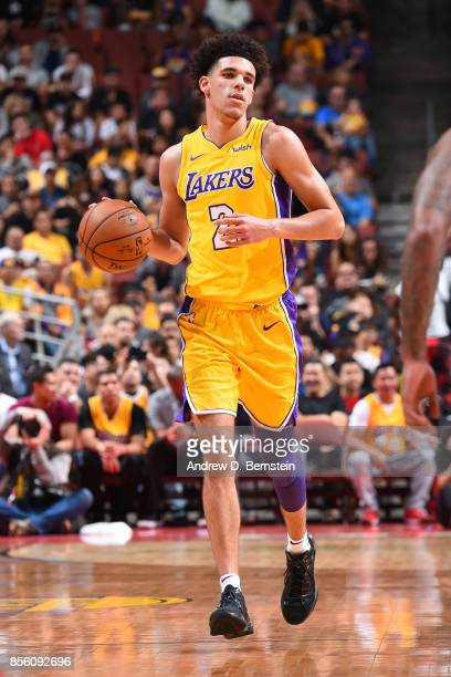 Lonzo Ball of the Los Angeles Lakers handles the ball during the preseason game on September 30 2017 at Honda Center in Anaheim California NOTE TO...
