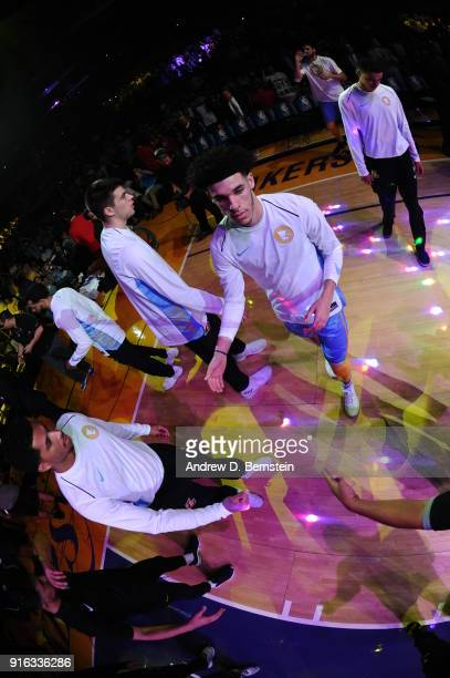 Lonzo Ball of the Los Angeles Lakers is introduced prior to the game against the Washington Wizards on October 25 2017 at STAPLES Center in Los...