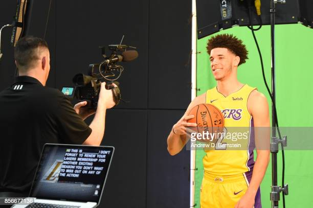 Lonzo Ball of the Los Angeles Lakers Lakers poses for a portrait during media day at UCLA Health Training Center on September 25 2017 in El Segundo...