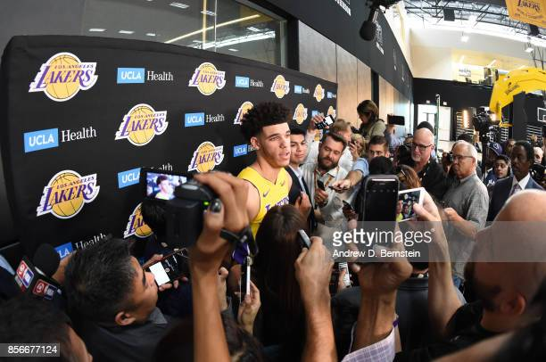 Lonzo Ball of the Los Angeles Lakers Lakers speaks to reporters during media day at UCLA Health Training Center on September 25 2017 in El Segundo...