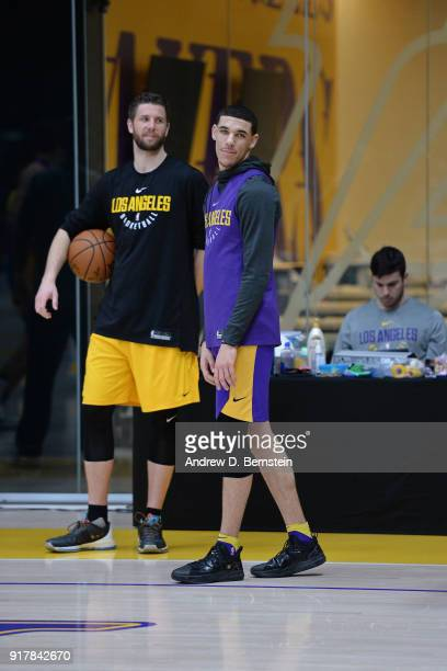 Lonzo Ball of the Los Angeles Lakers looks on during all access practice on February 12 2018 at UCLA Heath Training Center in El Segundo California...