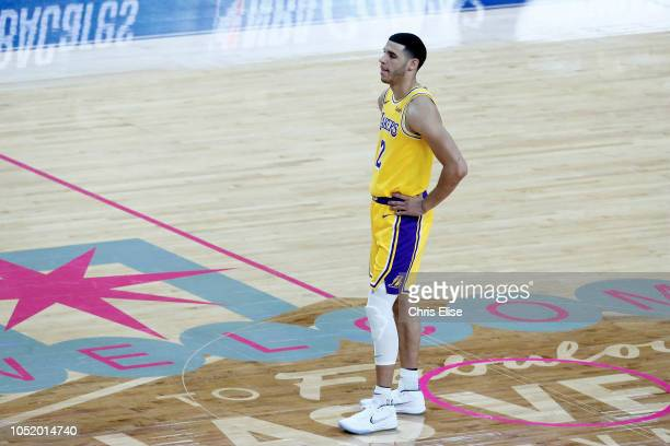 Lonzo Ball of the Los Angeles Lakers looks on during the game against the Golden State Warriors on October 10 2018 at TMobile Arena in Las Vegas...