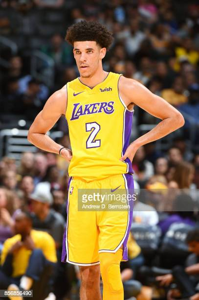 Lonzo Ball of the Los Angeles Lakers looks on during the game against the Denver Nuggets during a preseason game on October 2 2017 at STAPLES Center...