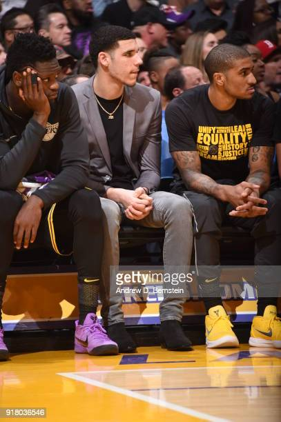 Lonzo Ball of the Los Angeles Lakers looks on during the game against the Oklahoma City Thunder on February 8 2018 at STAPLES Center in Los Angeles...