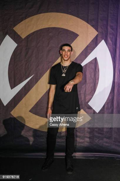 Lonzo Ball of the Los Angeles Lakers poses as the Big Baller Brand hosts a fashion show and the release of Lonzo Ball's 'Born 2 Ball' mixtape at the...