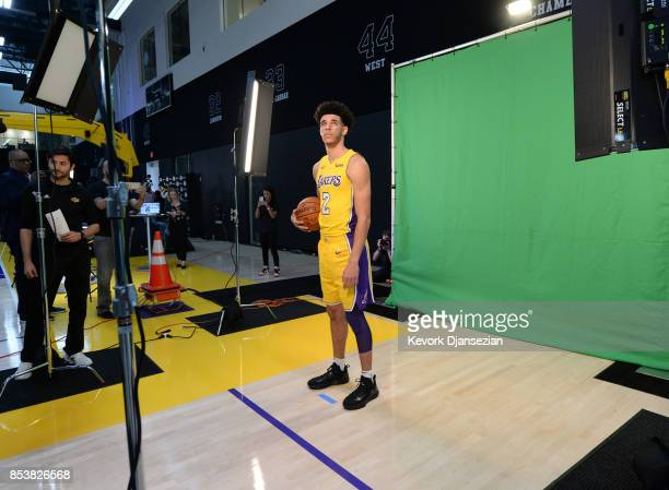Lonzo Ball of the Los Angeles Lakers poses during media day September 25 in El Segundo California NOTE TO USER User expressly acknowledges and agrees...