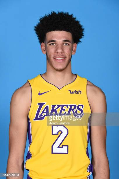 Lonzo Ball of the Los Angeles Lakers poses for a head shot during media day at UCLA Health Training Center on September 25 2017 in El Segundo...