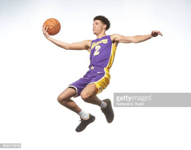 Lonzo Ball of the Los Angeles Lakers poses for a photo during the 2017 NBA Rookie Shoot on August 11 2017 at the Madison Square Garden Training...