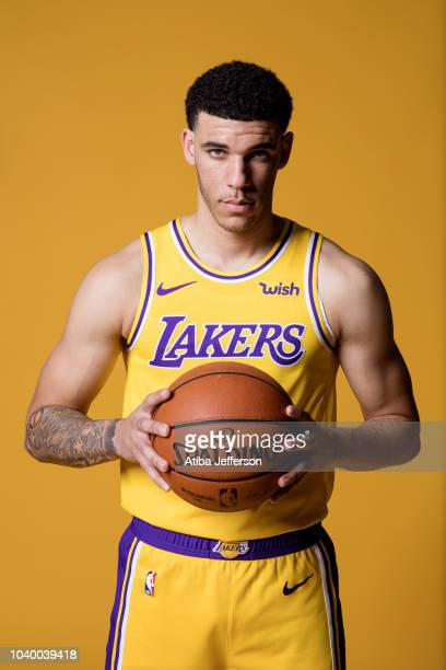 Lonzo Ball of the Los Angeles Lakers poses for a portrait during media day at UCLA