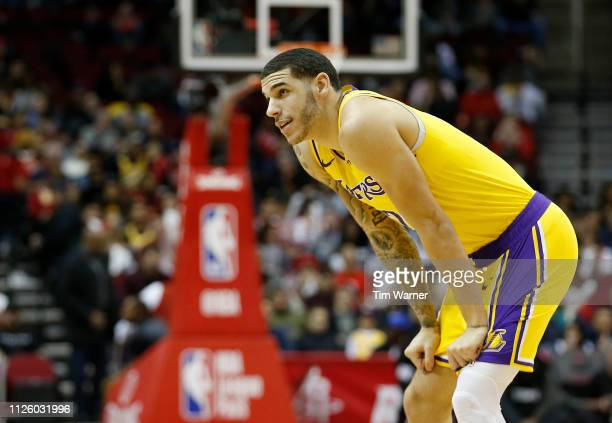 Lonzo Ball of the Los Angeles Lakers reacts after a foul against the Houston Rockets in the first half at Toyota Center on January 19 2019 in Houston...