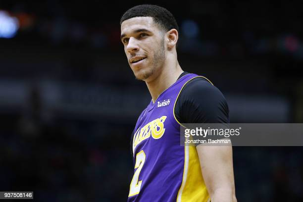 Lonzo Ball of the Los Angeles Lakers reacts during a game against the New Orleans Pelicans at the Smoothie King Center on March 22 2018 in New...