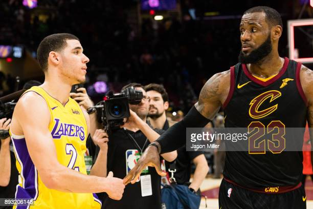 Lonzo Ball of the Los Angeles Lakers shakes hands with LeBron James of the Cleveland Cavaliers after the game at Quicken Loans Arena on December 14...