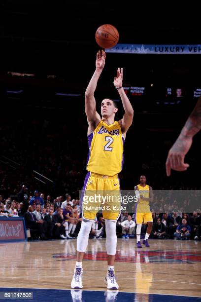 Lonzo Ball of the Los Angeles Lakers shoots a free throw during the game against the New York Knicks on December 12 2017 at Madison Square Garden in...