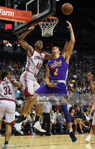 Lonzo Ball of the Los Angeles Lakers shoots a layup against Edy Tavares of the Cleveland Cavaliers during the 2017 Summer League at the Thomas Mack...