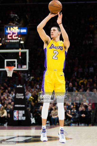 Lonzo Ball of the Los Angeles Lakers shoots during the first half against the Cleveland Cavaliers at Quicken Loans Arena on December 14 2017 in...