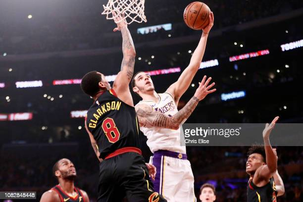 Lonzo Ball of the Los Angeles Lakers shoots the ball against the Cleveland Cavaliers on January 13 2019 at STAPLES Center in Los Angeles California...