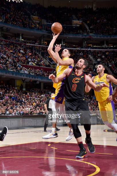 Lonzo Ball of the Los Angeles Lakers shoots the ball against the Cleveland Cavaliers on December 14 2017 at Quicken Loans Arena in Cleveland Ohio...