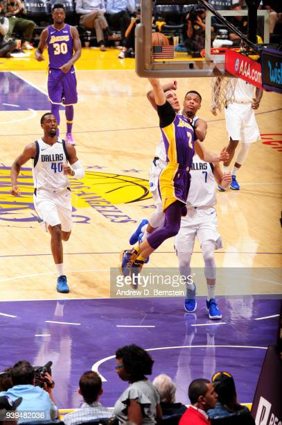 Lonzo Ball of the Los Angeles Lakers shoots the ball during the game against the Dallas Mavericks on March 28 2018 at STAPLES Center in Los Angeles...