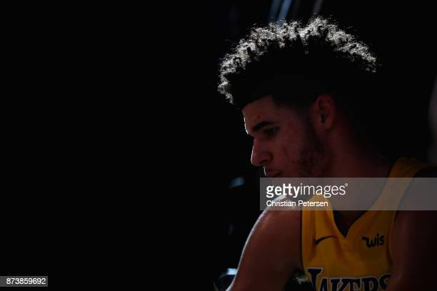 Lonzo Ball of the Los Angeles Lakers sits on the bench during a time out from the second half of the NBA game against the Phoenix Suns at Talking...