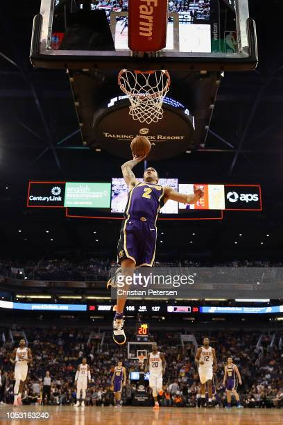 Lonzo Ball of the Los Angeles Lakers slam dunks the ball against the Phoenix Suns during the second half of the NBA game at Talking Stick Resort...