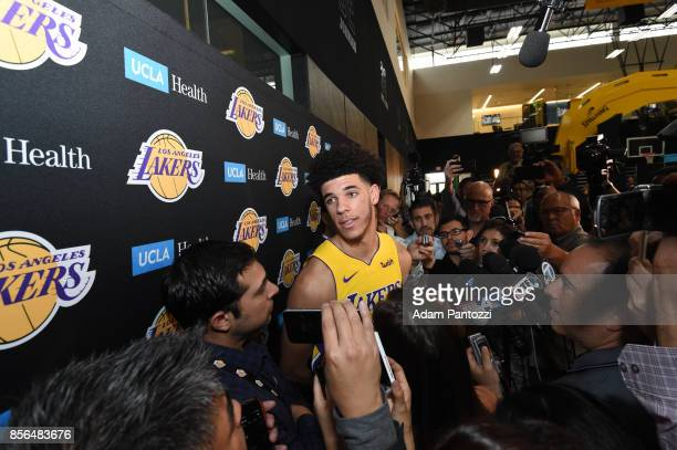 Lonzo Ball of the Los Angeles Lakers speaks to reporters during media day at UCLA Health Training Center on September 25 2017 in El Segundo...