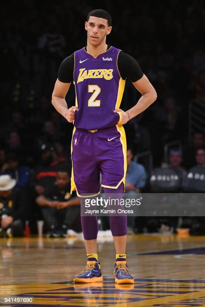Lonzo Ball of the Los Angeles Lakers stands on the court during the game against the Dallas Mavericks at Staples Center on March 28 2018 in Los...