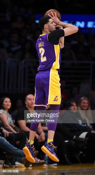 Lonzo Ball of the Los Angeles Lakers takes a jump shot during the game against the Dallas Mavericks at Staples Center on March 28 2018 in Los Angeles...