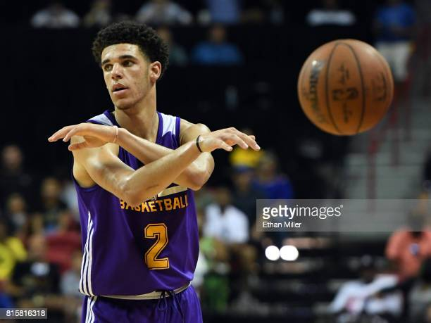 Lonzo Ball of the Los Angeles Lakers throws a nolook pass against the Dallas Mavericks during a semifinal game of the 2017 Summer League at the...