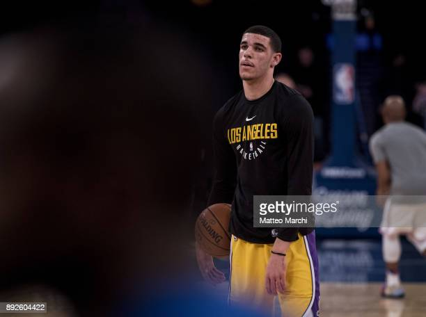 Lonzo Ball of the Los Angeles Lakers warms up before the game against the New York Knicks at Madison Square Garden on December 12 2017 in New York...