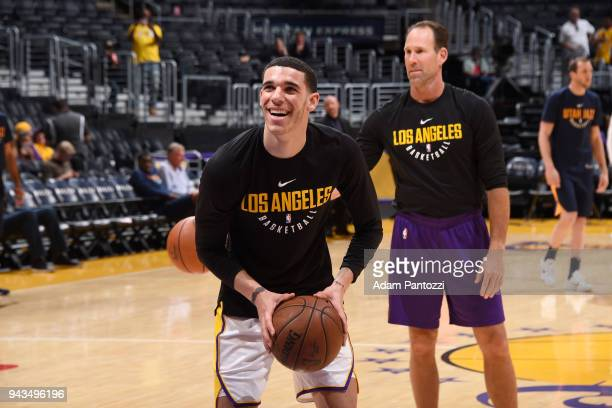 Lonzo Ball of the Los Angeles Lakers warms up before the game against the Utah Jazz on April 8 2018 at STAPLES Center in Los Angeles California NOTE...