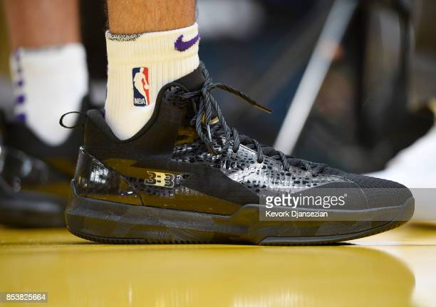 Lonzo Ball of the Los Angeles Lakers wearing his Big Baller Brand ZO2 Prime Remixes shoes during media day September 25 in El Segundo California NOTE...