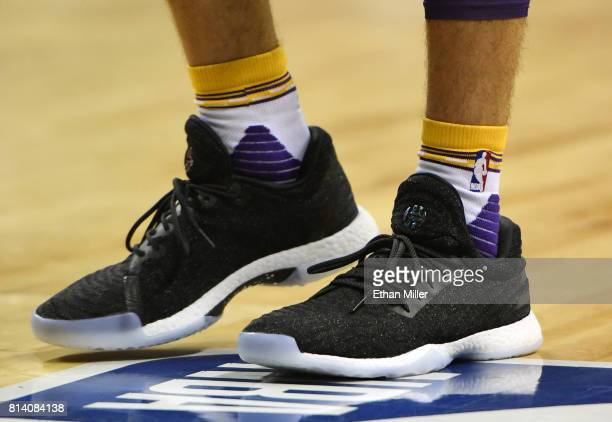Lonzo Ball of the Los Angeles Lakers wears adidas Harden LS Primeknit sneakers during a 2017 Summer League game against the Cleveland Cavaliers at...
