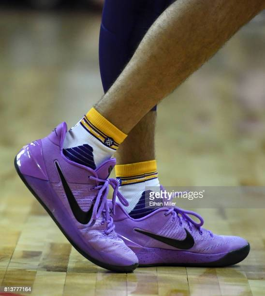 Lonzo Ball of the Los Angeles Lakers wears purple Nike Kobe AD sneakers during a 2017 Summer League game against the Philadelphia 76ers at the Thomas...