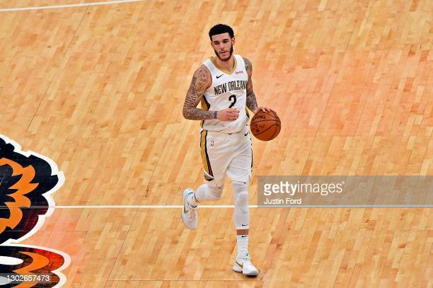 Lonzo Ball of the New Orleans Pelicans brings the ball up court during the game against the Memphis Grizzlies at FedExForum on February 16, 2021 in...