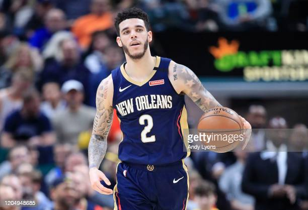 Lonzo Ball of the New Orleans Pelicans dribbles the ball against the Indiana Pacers at Bankers Life Fieldhouse on February 08, 2020 in Indianapolis,...