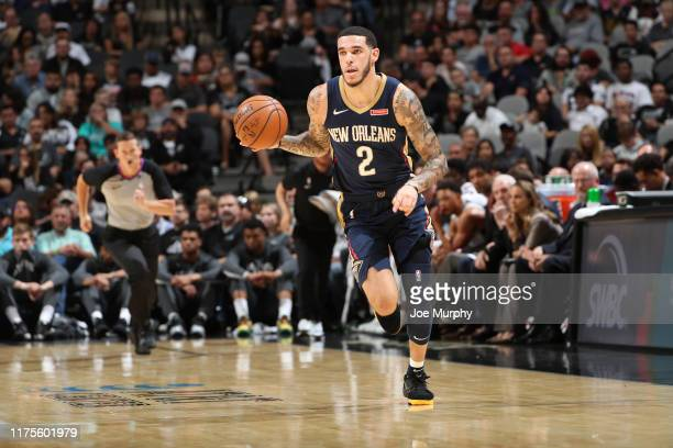 Lonzo Ball of the New Orleans Pelicans handles the ball against the San Antonio Spurs during a preseason game on October 13 2019 at the ATT Center in...