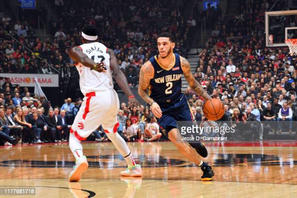 Lonzo Ball of the New Orleans Pelicans handles the ball against the Toronto Raptors on October 22 2019 at the Scotiabank Arena in Toronto Ontario...